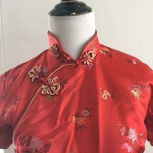 VTG Chinese China dress Cheongsam Qipao satin 34